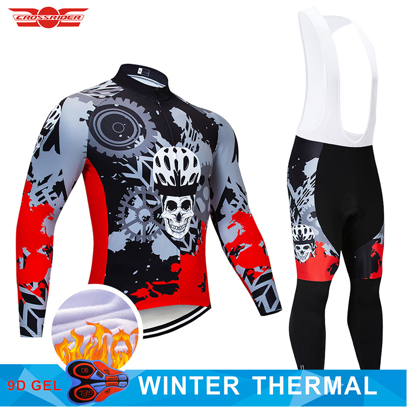 2019 Winter Cycling Jersey 9D Pants Set MTB Skeleton Bicycle Clothing Mens Ropa Ciclismo Thermal Fleece Bike Jacket Cycling Wear