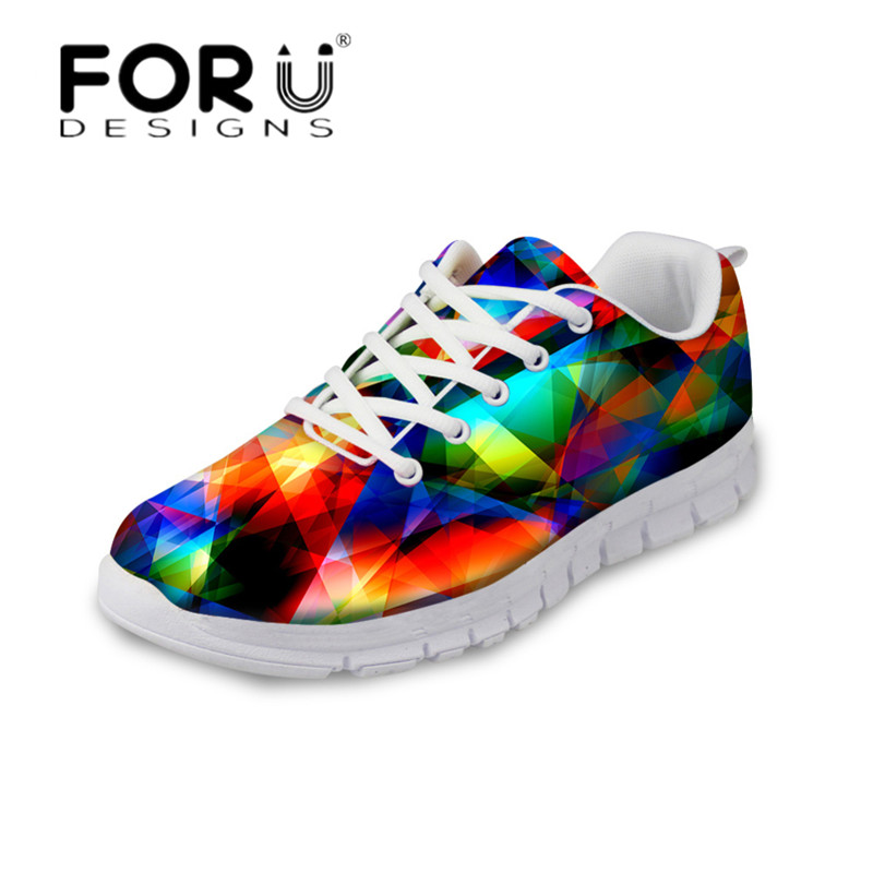 FORUDESIGNS Colorful Rainbow Women Walking Shoes Casual Flats Breathable Mesh Sneakers for Ladies Girls Light Lace Up Flat Shoes цена