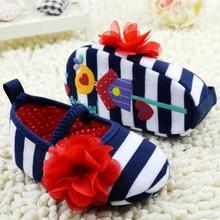 Lovely Baby First Walkers Girls niemowląt pasiasty kwiat Decor miękkie elastyczne buty Prewalker tanie tanio Dziecko Plecionka- Slip-on Dziewczynka Bawełna Wszystkie sezony Satyna Pasuje do rozmiaru Weź swój normalny rozmiar