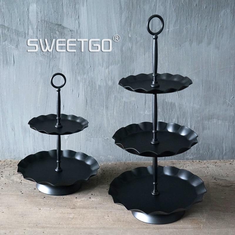 SWEETGO 3 қабат cupcake тұрағы қара толқынды - Тағамдар, тамақтану және бар - фото 4