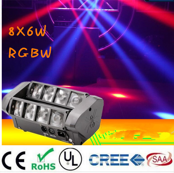 Moving Head Light Mini LED Spider 8x6W RGBW Beam Light Good Quality Fast Shipping
