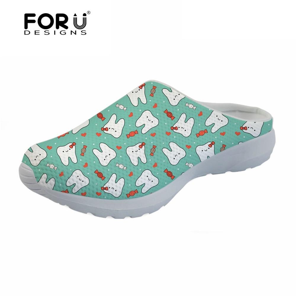 FORUDESIGNS Cute Dentist Prints Women Sandals Flats Female Breathable Mesh Beach Water Shoes Fashion Summer House Slippers Woman swonco women s