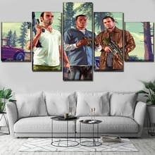Home Decor Living Room Wall Art Video Game Grand Theft Auto V Paintings 5 Pieces Printing Type Posters Modular Framework