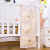 Cotton Baby Crib Organizer Cot Hanging Bag Diaper Storage For Baby Bedding Set Crib Organizer Toy