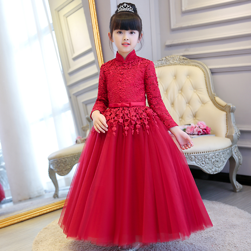 2018 spring teenage girl dress girls party wear beauty prom gown children kids chinese traditioanl costume girl formal clothes a15 fancy lace girls wedding gown summer teenage girls party costume for kids clothes children clothing girl prom ceremony dress