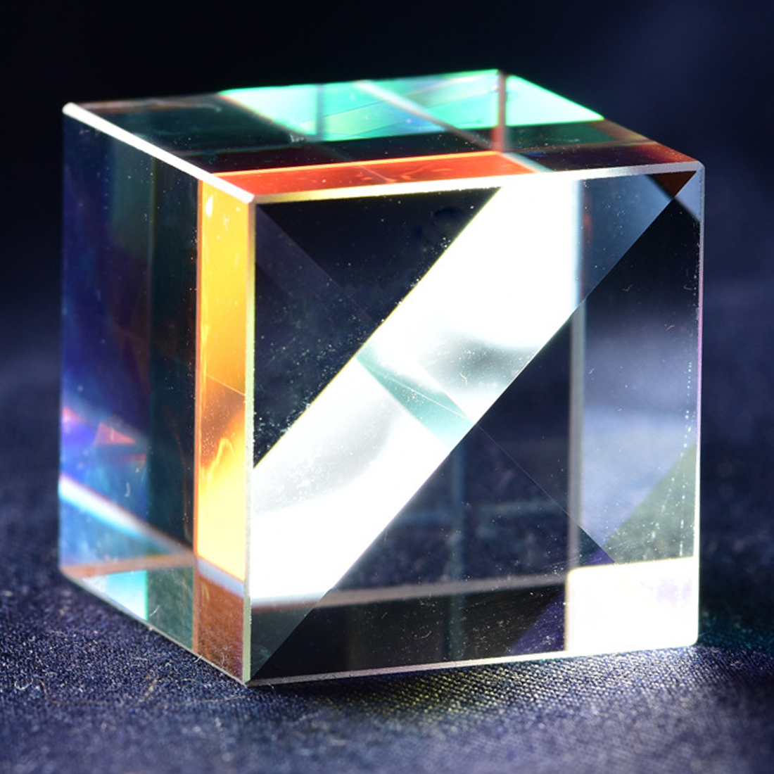 Optical Glass Cube Defective Cross Dichroic Prism Mirror Combiner Splitter Decor 18x18mm Transparent Module Toy Teaching Tools