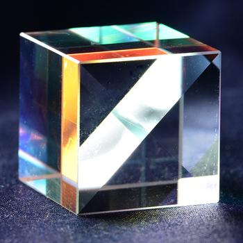 Szkło optyczne Cube wadliwy krzyż dichroiczny pryzmat lustro Combiner Splitter Decor 18x18mm przezroczysty moduł zabawki narzędzia dydaktyczne tanie i dobre opinie Inpelanyu Regular 80 50 K9 Optical Glass 18*18mm C01624 Telescope Scientific Experiment Teaching Experiment Lamp K9 Color Prism