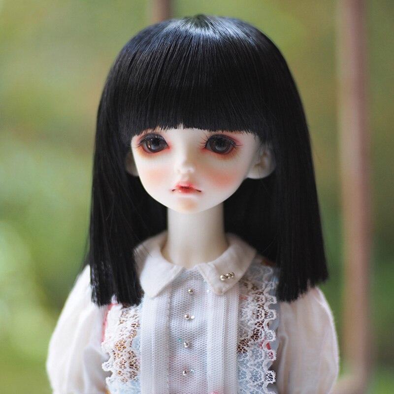 2018 наивысшего качества 1/3 1/4 1/6 Bjd парик в виде симпатичного черного прямые для куклы парик SD волос Бесплатная доставка