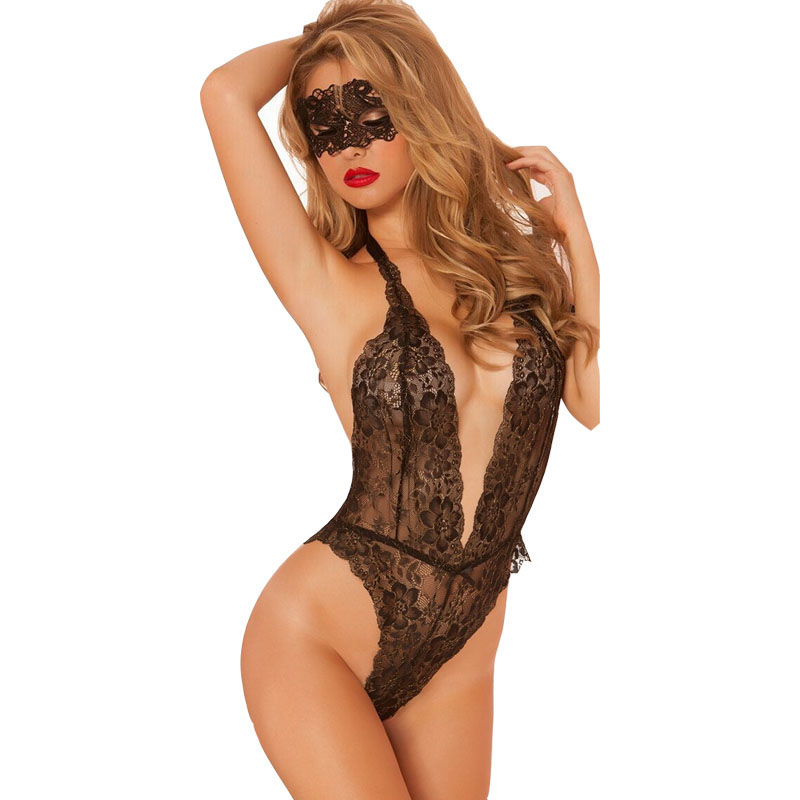<font><b>2018</b></font> <font><b>sexy</b></font> lingerie hot Red black lace deep v neck <font><b>sexy</b></font> erotic underwear <font><b>bodysuit</b></font> <font><b>sexy</b></font> sleepwear nightgowns for women with mask image