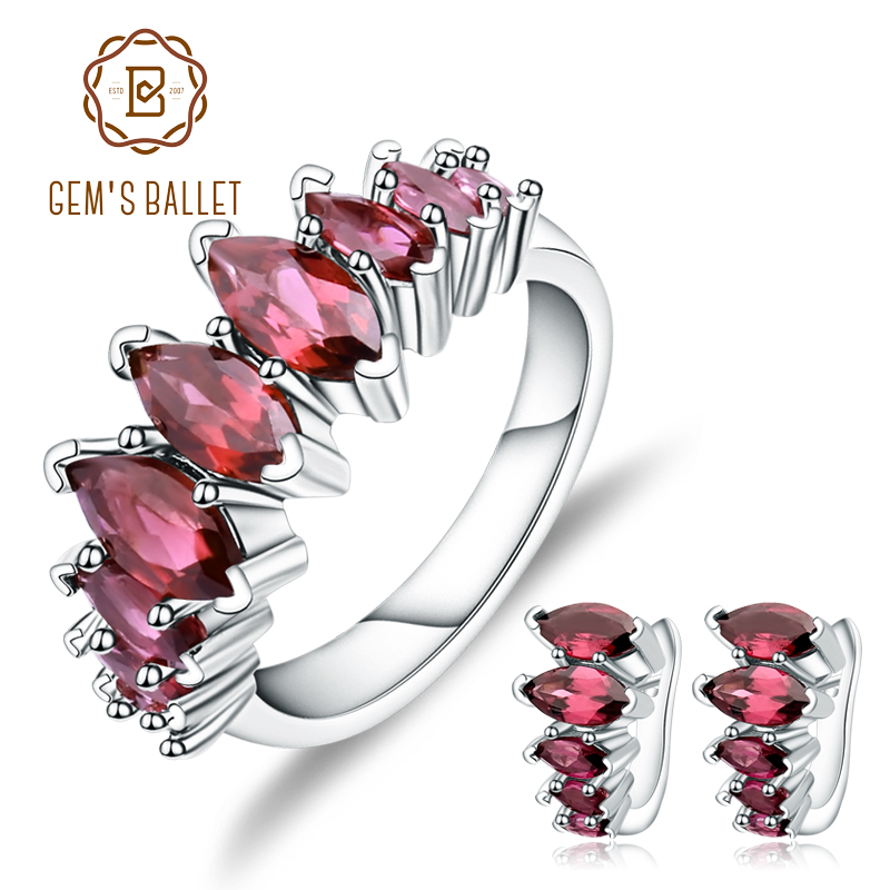 GEM S BALLET Natural Rhodolite Garnet Earrings Ring Set 925 Sterling Silver Gemstone Jewelry Set For