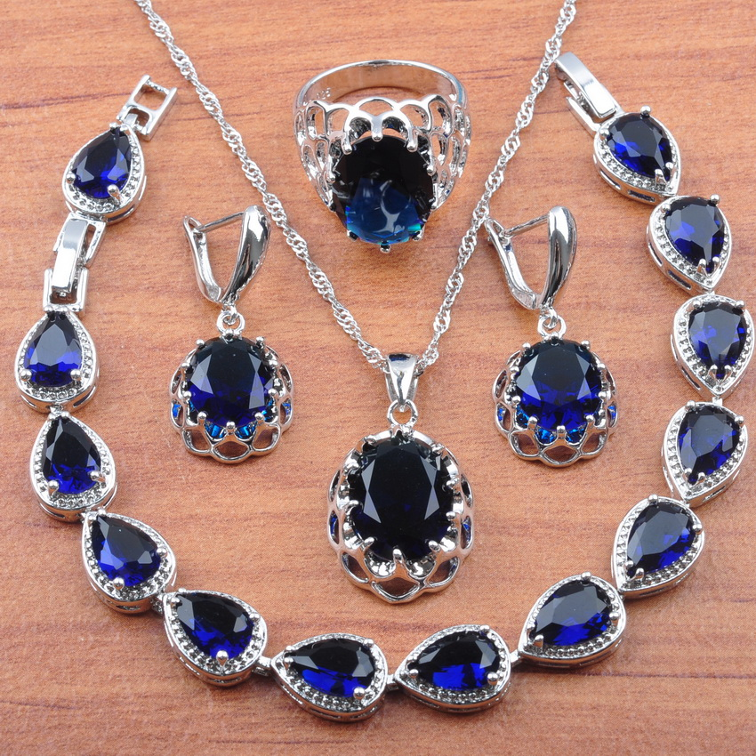 Bracelet Jewelry-Sets Earrings Necklace Pendant-Rings 925-Sterling-Silver Zirconia Blue