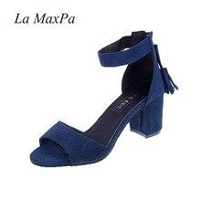 La MaxPa Woman Shoes 2018 Summer Tassel Flock Women Sandals Fringe Sandal Heels Thick High Heels Sandals Sandalias De Salto Alto цены