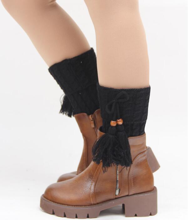 New Women Winter Knitted Leg Warmer Fashion Bohemia Tassels Stretch Acrylon Wool Crochet Knit Boot Socks Toppers Cuffs