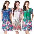 Mulheres Camisola 100% de Algodão Artificial Sleepwear Verão Curto-manga One piece-Vestido de Flores Padrão de Salão Sleepshirts Lingerie