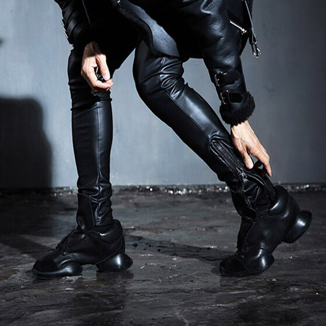 Fashion Men's Punk Rock Armor Simple PU Faux Leather Tie Zip Ankle Pants  Long Trousers Full Length Pants M-2XL 1