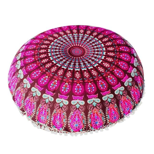 Large Mandala Floor Pillows Round Bohemian Meditation Ottoman Pouf ...