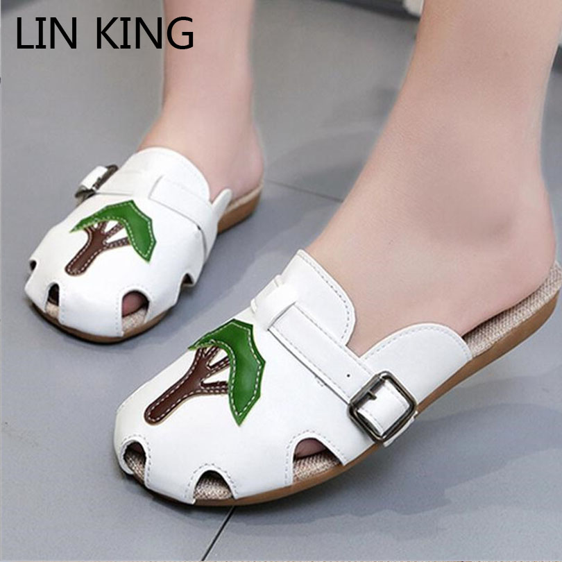 LIN KING Appliques Lazy Round Toe Slippers Breathable Slip On Casual Women Slides Comfortable Summer Girl Cartoon Animation Shoe lin king fashion pu leather women flats shoes round toe loafers comfortable slip on casual shoes solid breathable girl lazy shoe