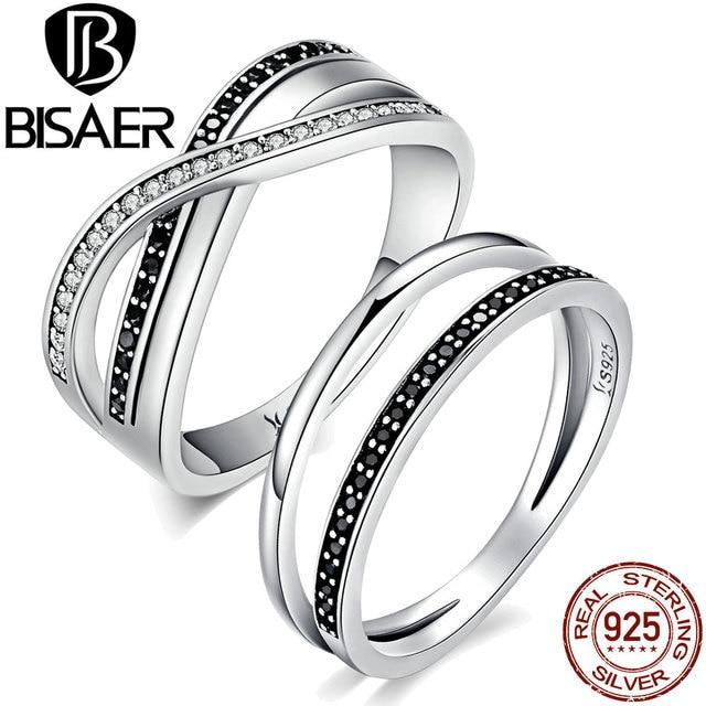 BISAER 925 Sterling Silver Engagement Ring Setting Black And White Strip, Irregu