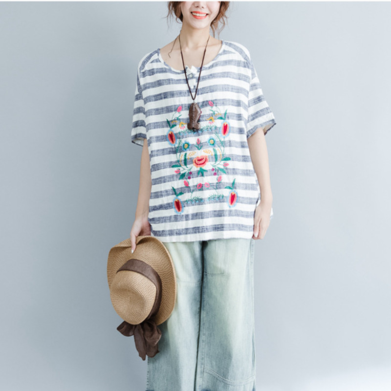 Loose Embroidery Floral T Shirt Feamle Short Sleeve Loose Tops Summer Style Cotton Linen Striped Tee Shirts Big Size Comfy Cloth