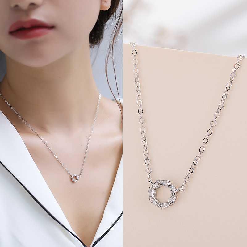 Puede elegir joyería de color negro circón geométrico pequeño círculo mini corto colgantes collar mujer estudiante regalo