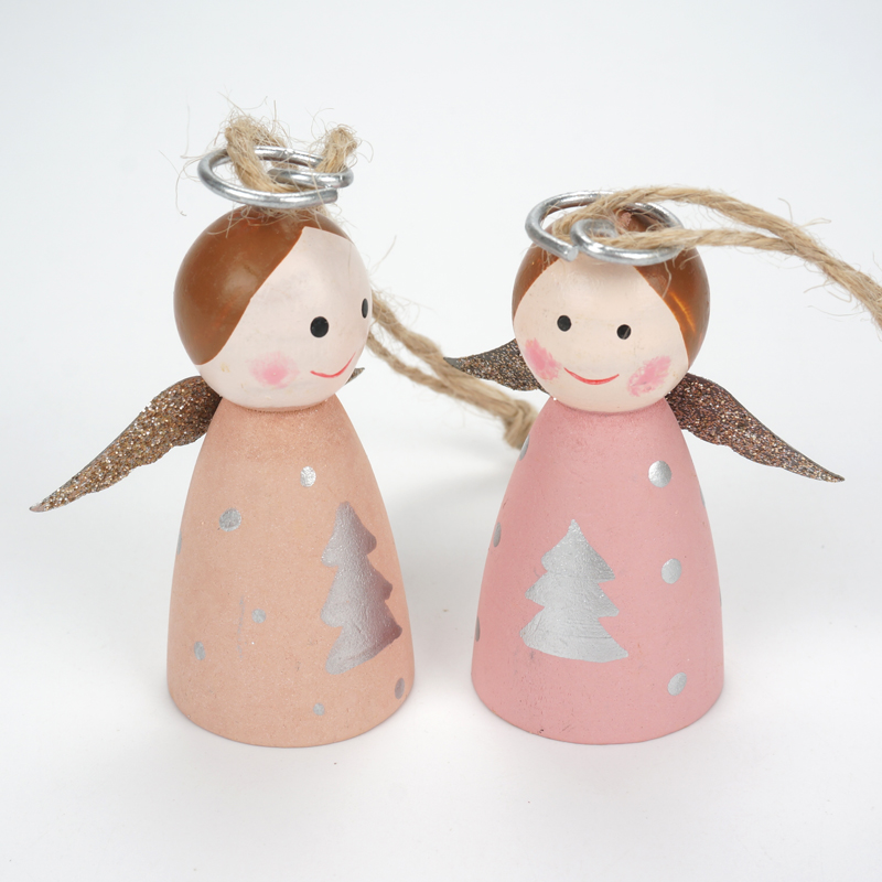 christmas decorations for home 6pcsset wood christmas angel tree pendant 2018 new angel wings girl doll christmas tree ornament