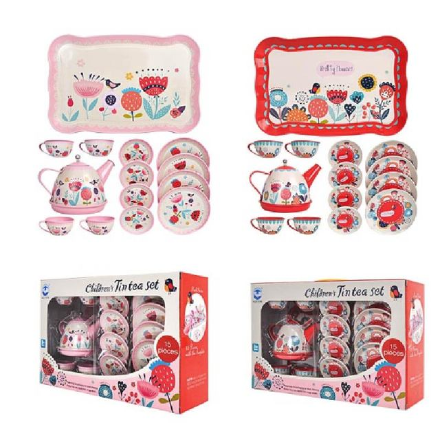 14PCS קומקום ספל תה בריטי סגנון אחר הצהריים תה Tinplate צעצועי ילדים מטבח ילדים תה סט צעצועי להעמיד פנים לשחק צעצועי עבור ילדה