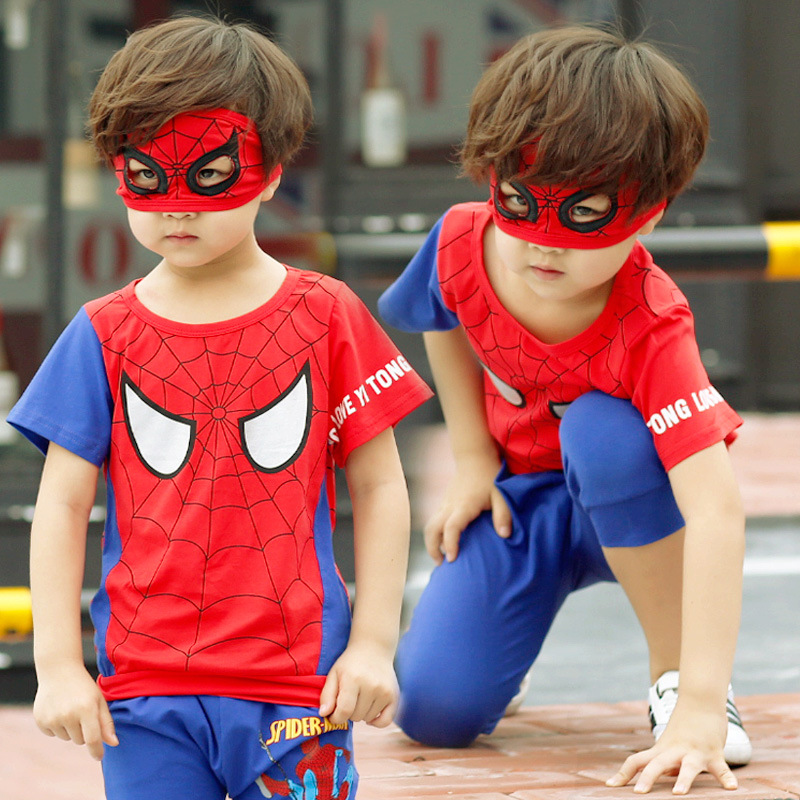 Newest Spring/Summer  Boys clothes set Spider Man Suits the boy cartoon T-shirt suit The fashion leisure streets suit P001
