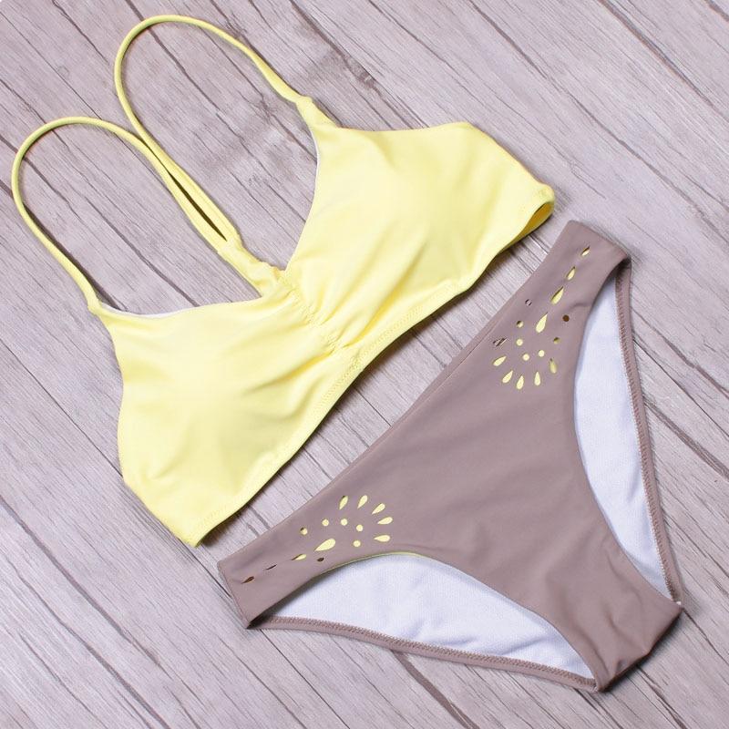 NAKIAEOI 2019 Sexy High Neck Bikini Swimwear Women Swimsuit Brazilian Bikini Set Green Print Halter Top Beach wear Bathing Suits