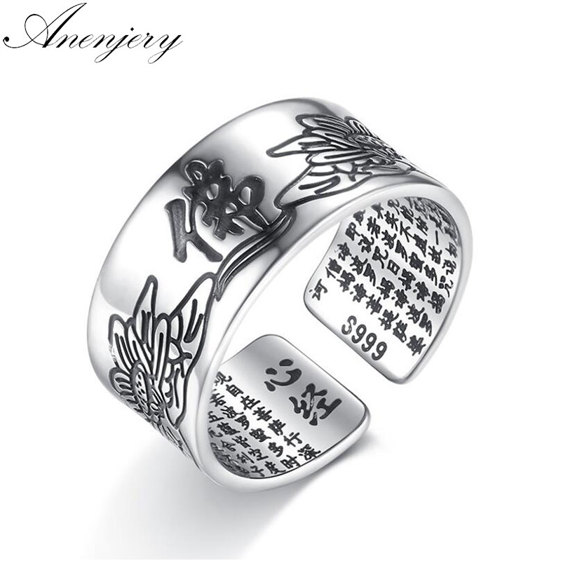 Anenjery 925 Sterling Silver Jewelry Vintage Amulet Buddha Lotus Baltic Buddhist Scriptures Opening Rings For Men Women S-R90
