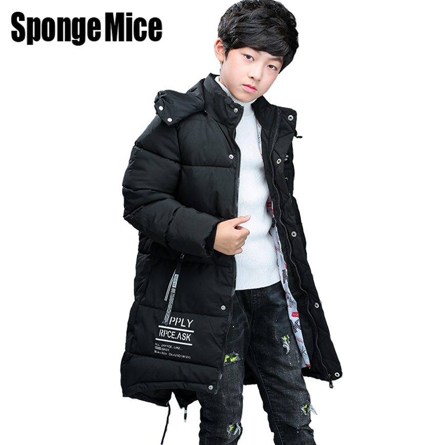 sponge mice 2017 New Children Coat Boys Winter Coats Long-sleeved Coat Warm Teenager Jacket Winter Outerwear Thick Kids Hooded children winter coats jacket baby boys warm outerwear thickening outdoors kids snow proof coat parkas cotton padded clothes