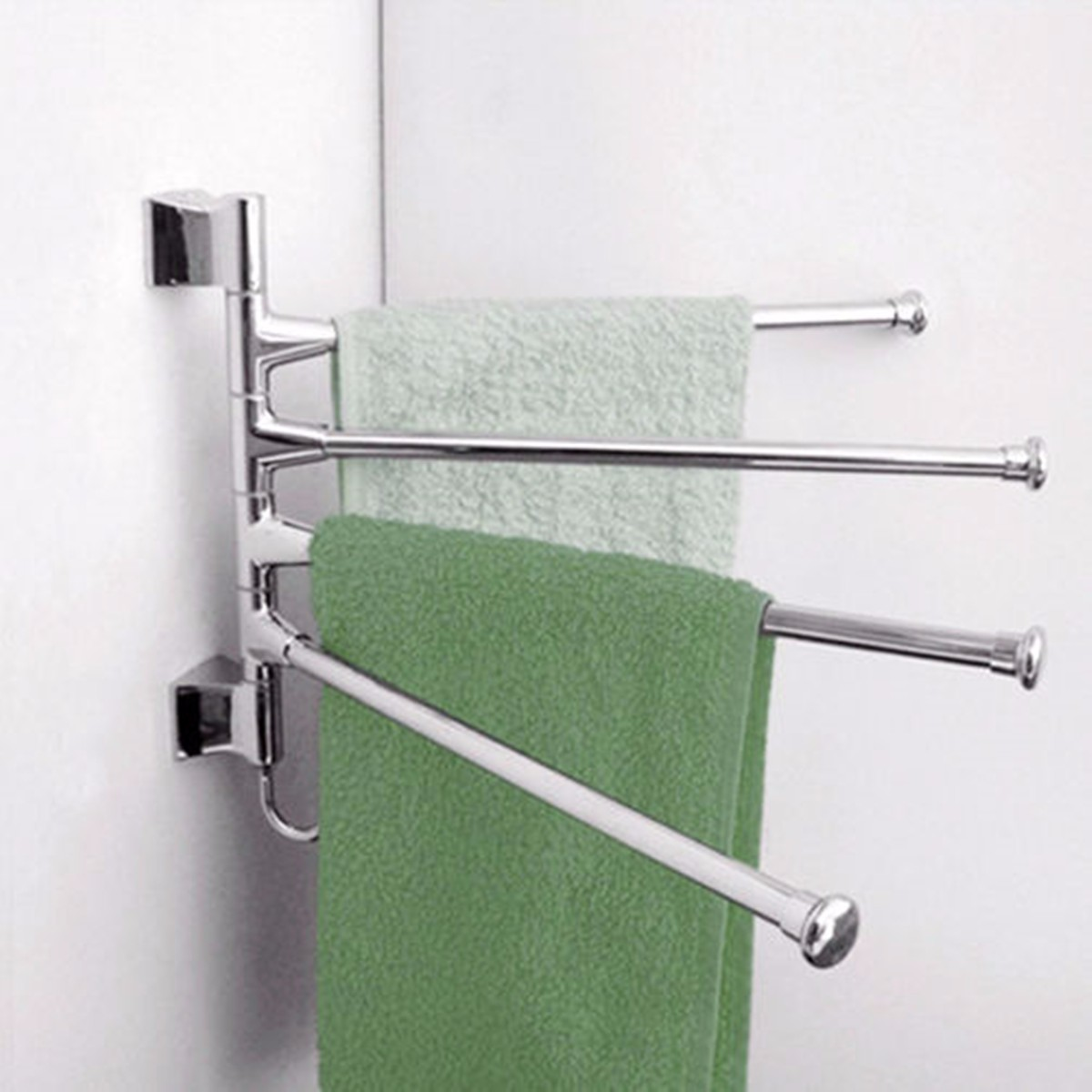 3 Lyer Wall Mounted Bathroom Towel Rack Swivel Towel