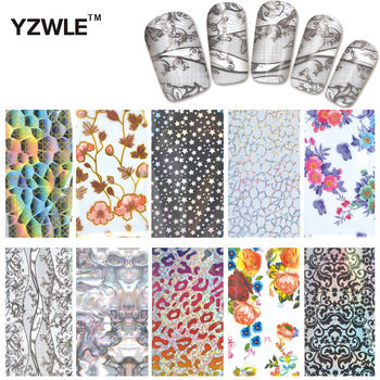 YZWLE 10 Designs Nail Art Full Tips Wraps DIY Transfer Foil Decals Foils Polish Adhesive Wraps #XKT-N21