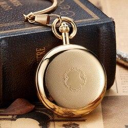 Goldene Leucht Kupfer Mechanische Taschenuhr Männer Frauen Vintage Doppelseitige Gravierte Fob Kette Skulptur Retro Tasche Uhren