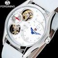 FORSINING 2017 китай бренд женщина часы моды Кварца скелет Наручные Часы белый корпус синий точка унисекс часы кожаный ремешок