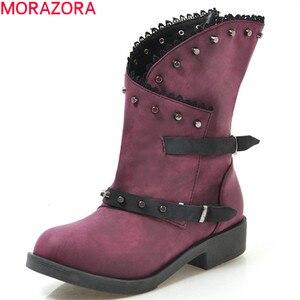 Image 1 - MORAZORA 2020 חדש אופנה קרסול מגפי נשים מסמרת zip אבזם פאנק נעלי עקבים נמוך ייחודי גלדיאטור סתיו מגפי גדול גודל 43