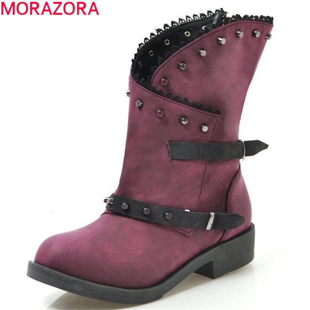 MORAZORA 2020 חדש אופנה קרסול מגפי נשים מסמרת zip אבזם פאנק נעלי עקבים נמוך ייחודי גלדיאטור סתיו מגפי גדול גודל 43