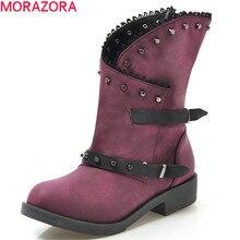 MORAZORA/2020 новые модные женские ботильоны с заклепками и застежкой молнией; обувь в стиле панк на низком каблуке; Уникальные осенние ботинки гладиаторы; большие размеры 43
