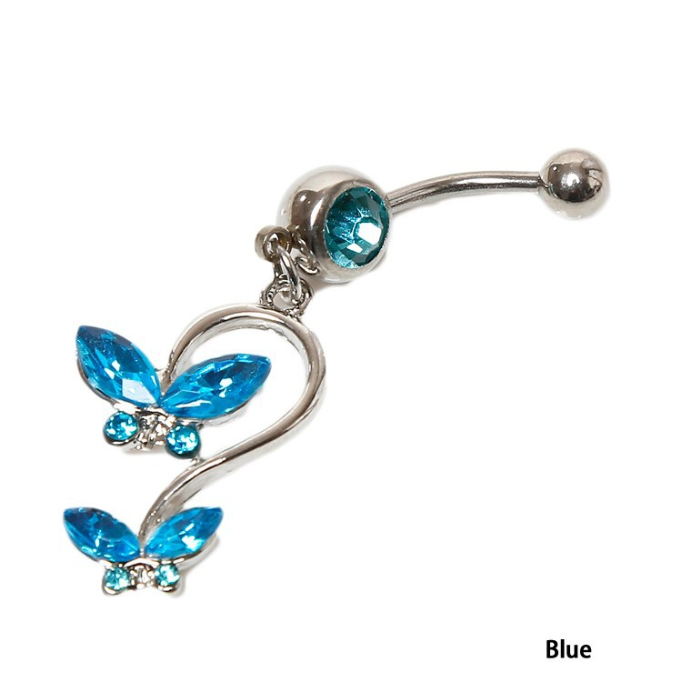HTB11mgvIVXXXXcaapXXq6xXFXXXa Women's Beautiful Butterfly Body Piercing Jewelry Navel Belly Button Dangling Ring - 4 Colors