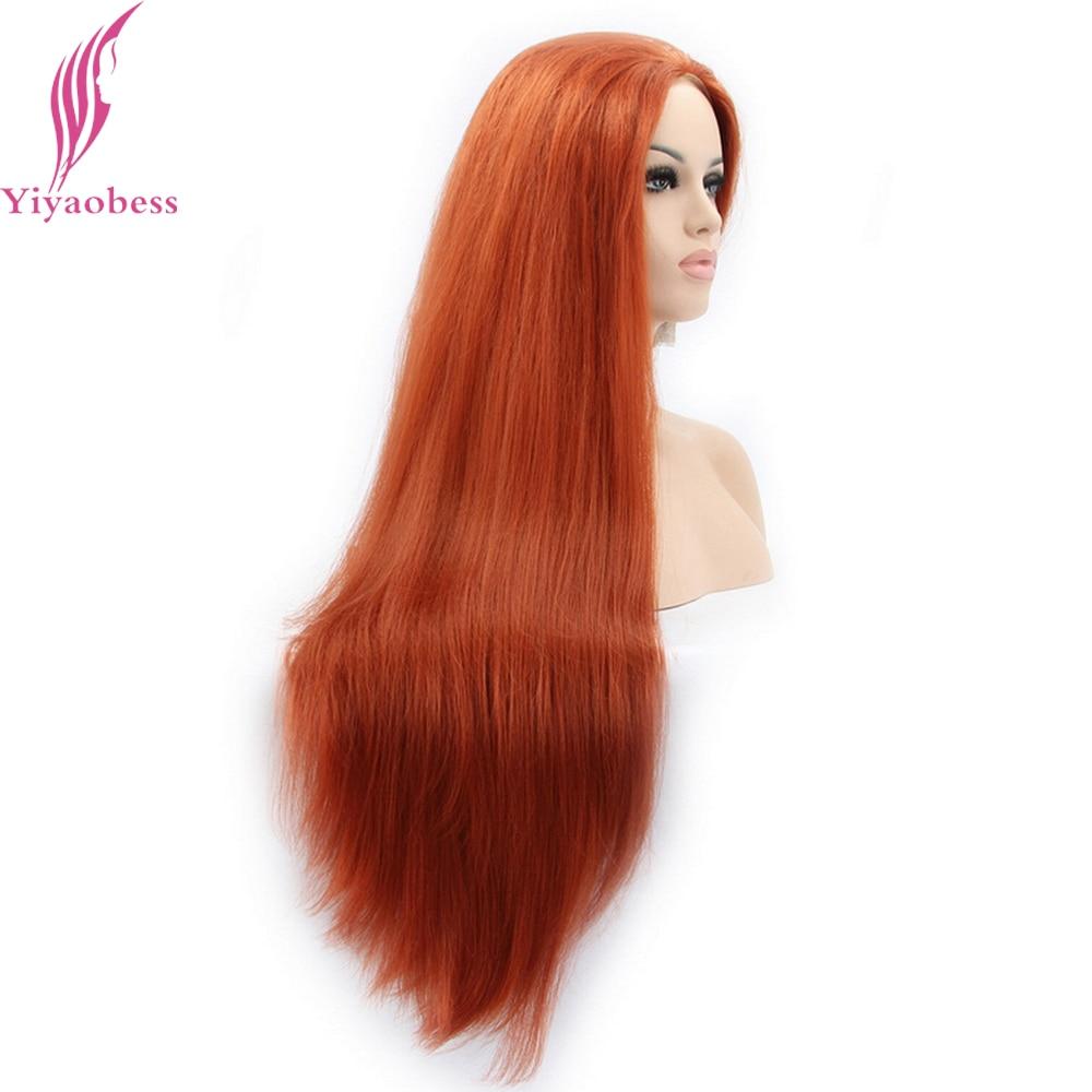 Yiyaobess Straight Syntetisk Snörning Fram Paryk Lång Orange Hår - Syntetiskt hår - Foto 2