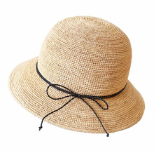 4404f0ba13b Sun Hat Hand Made Light Female Sea Boater Chic Summer Brim Bow 100% Nature  Madagascar
