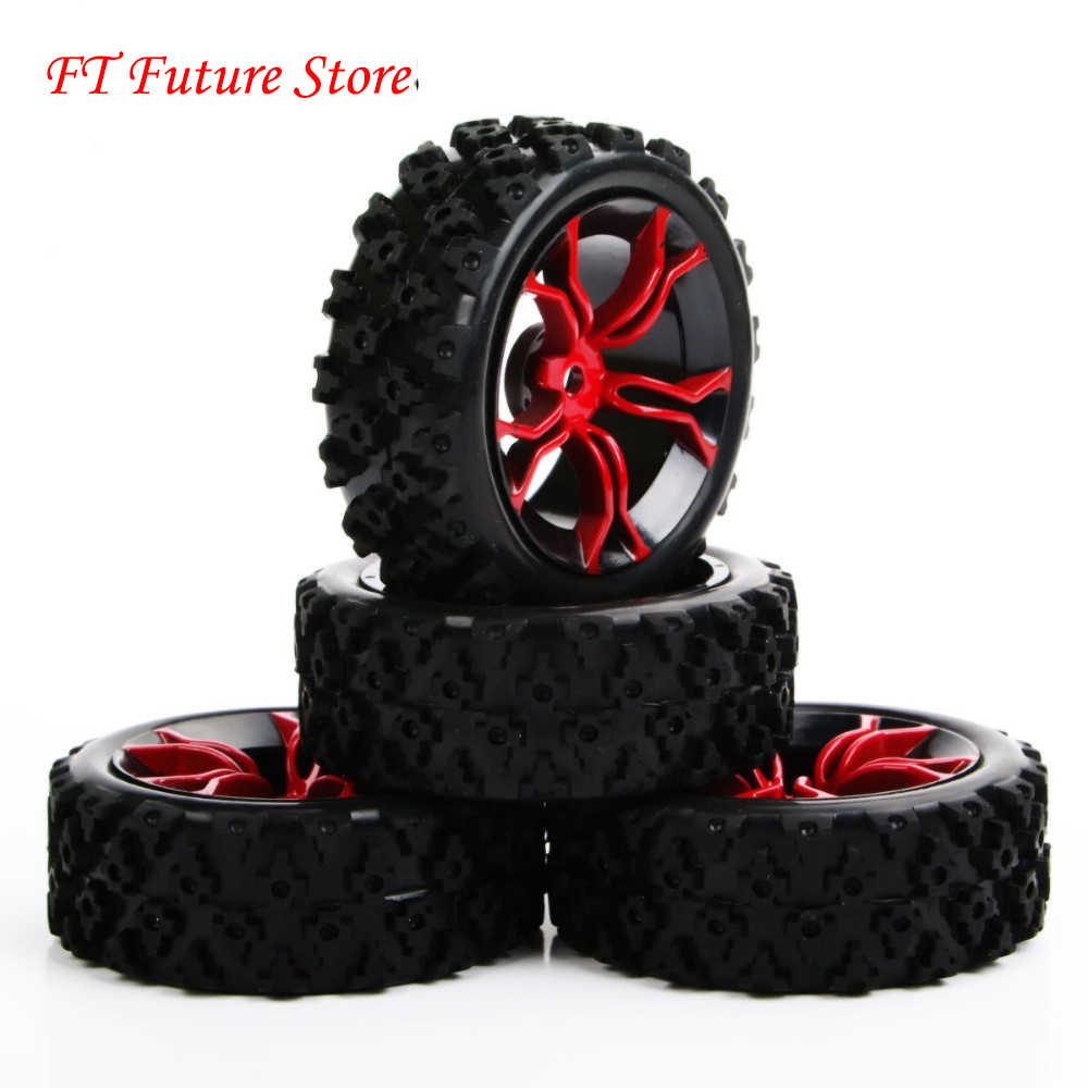 4 stks/set 1/10 Rubber Rally Banden & Wiel 6mm Offset 12mm Hex Voor HSP HPI RC 1:10 Off road Auto MPNKR/PP0487