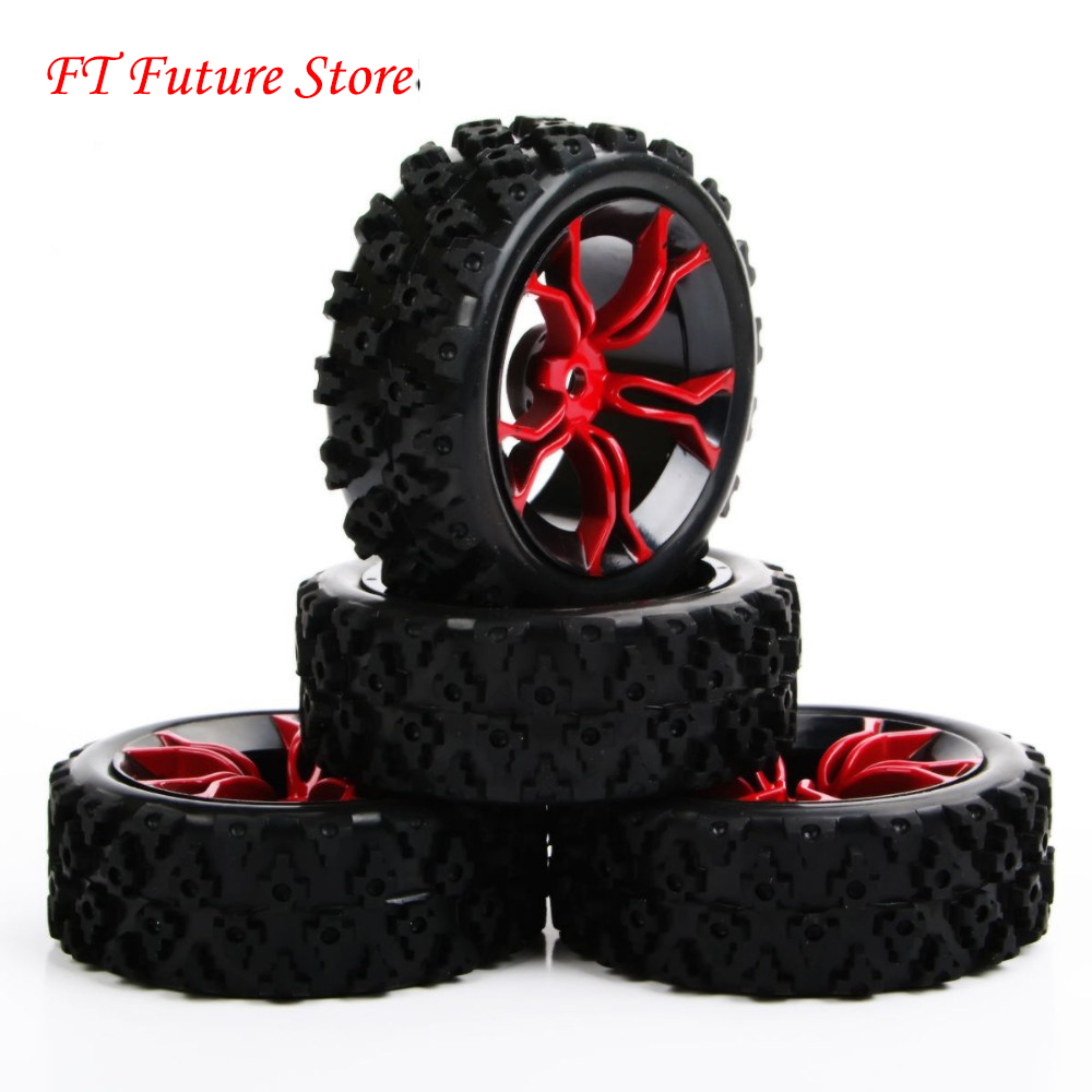 4Pcs/Set 1/10 Rubber Rally Tires&Wheel 6mm Offset 12mm Hex For HSP HPI RC 1:10 Off Road Car MPNKR/PP0487