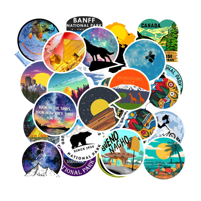 100PCS Camping Travel Stickers Wilderness Adventure Outdoor Landscape Waterproof Decal Sticker To DIY Suitcase Laptop Motor Car