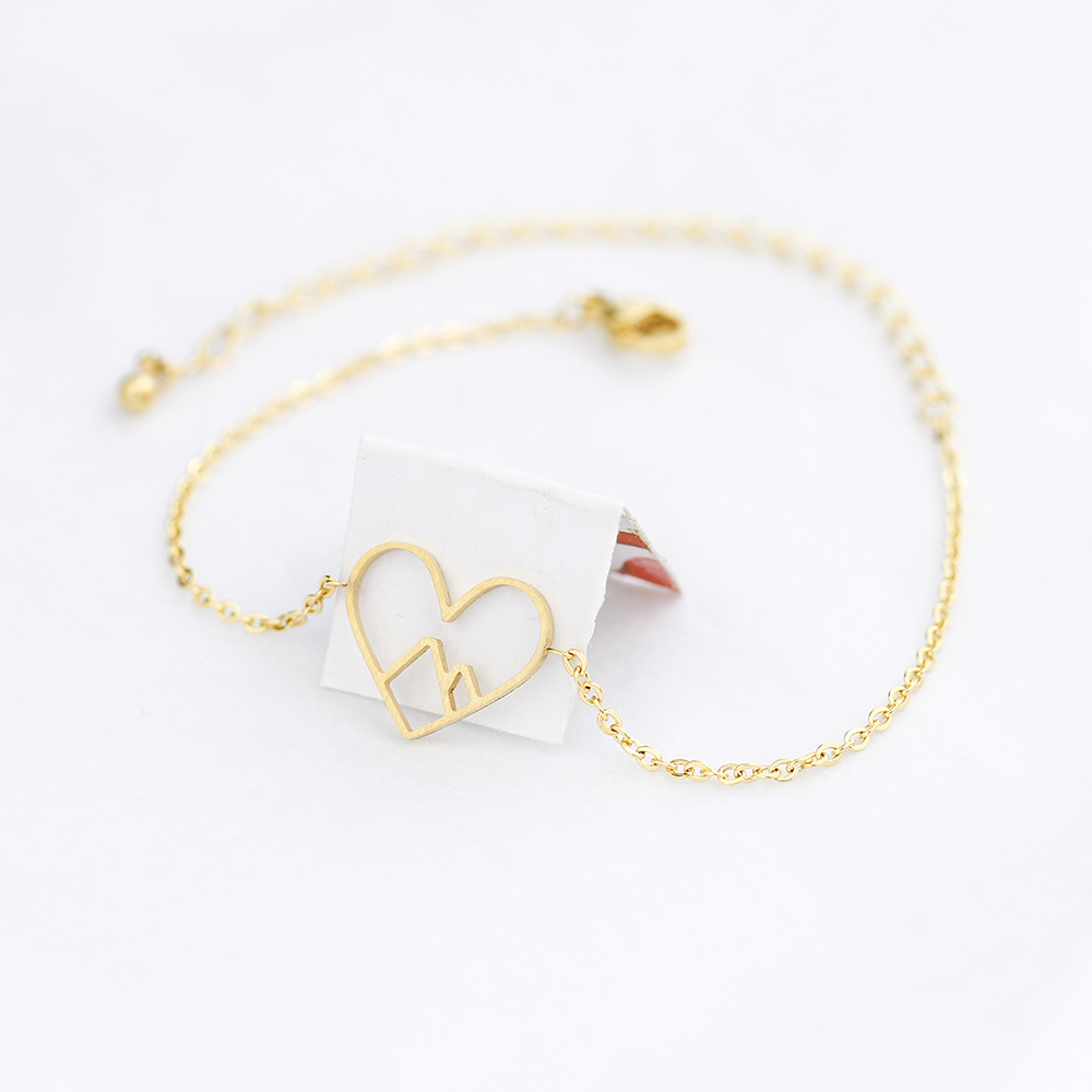 10PCS Mountain With Heart Bracelets Men Love Jewelry Stainless Steel Gold Color Bracelets