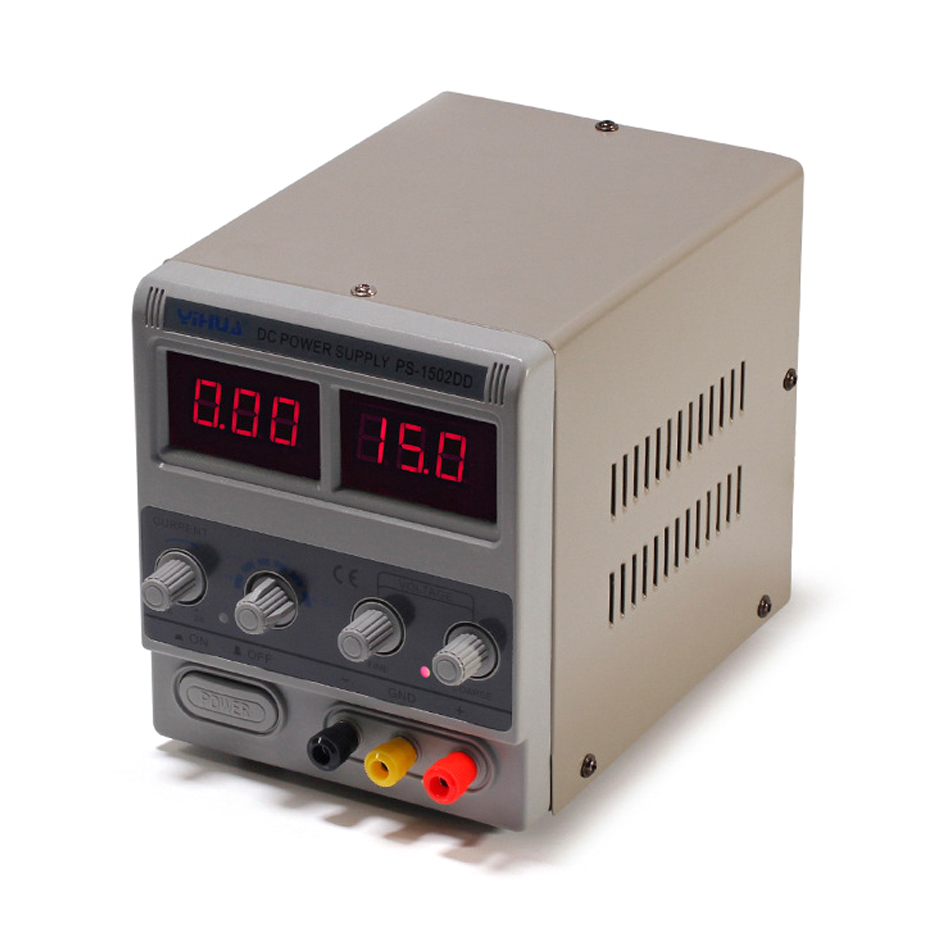 YIHUA 1502DD Mini Laboratory Power Supply Adjustable Digital 15V 2A 0.1V 0.01A Voltage Regulators Phone Repair DC Power Supplies