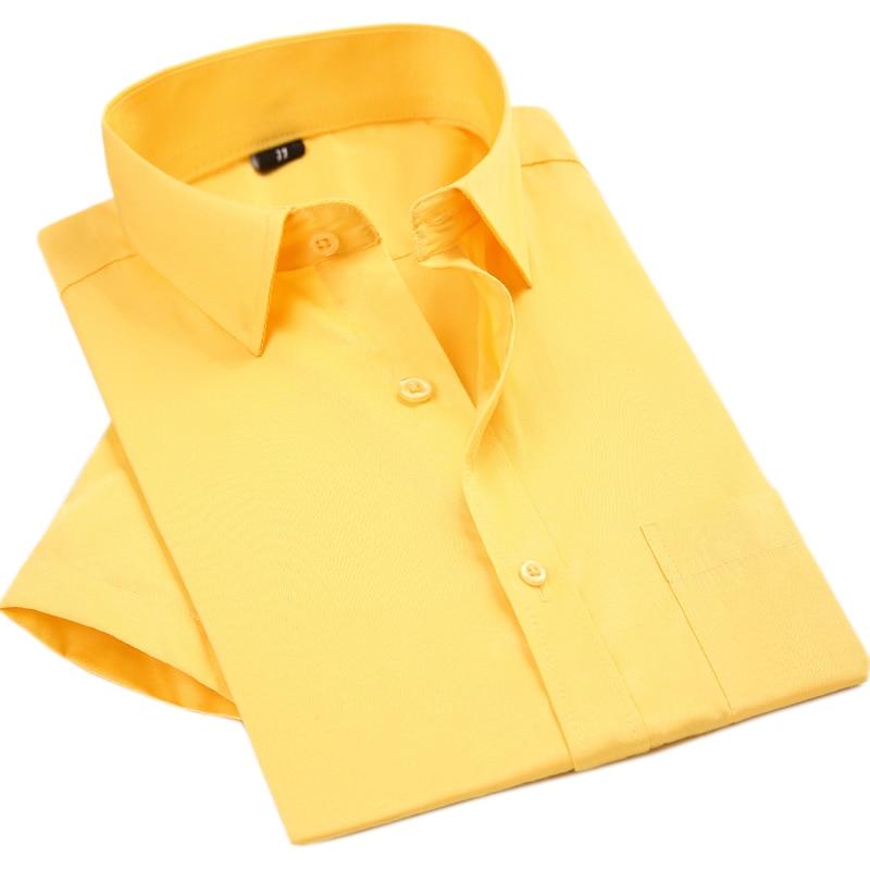 QiSha 2018 짧은 소매 망 패션 여름 화이트 비즈니스 셔츠 골드 화이트 블랙 작업 셔츠 남자 중국 수입 의류 1XXX