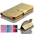 Brillo bling de oro de arena titular de la tarjeta soporte de la carpeta funda de piel para samsung galaxy s3 cubierta del rhinestone del diamante