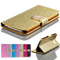 Glitter Golden Bling Sand Leather Case For Samsung Galaxy S3 Wallet Stand Card Holder Rhinestone Diamond Cover