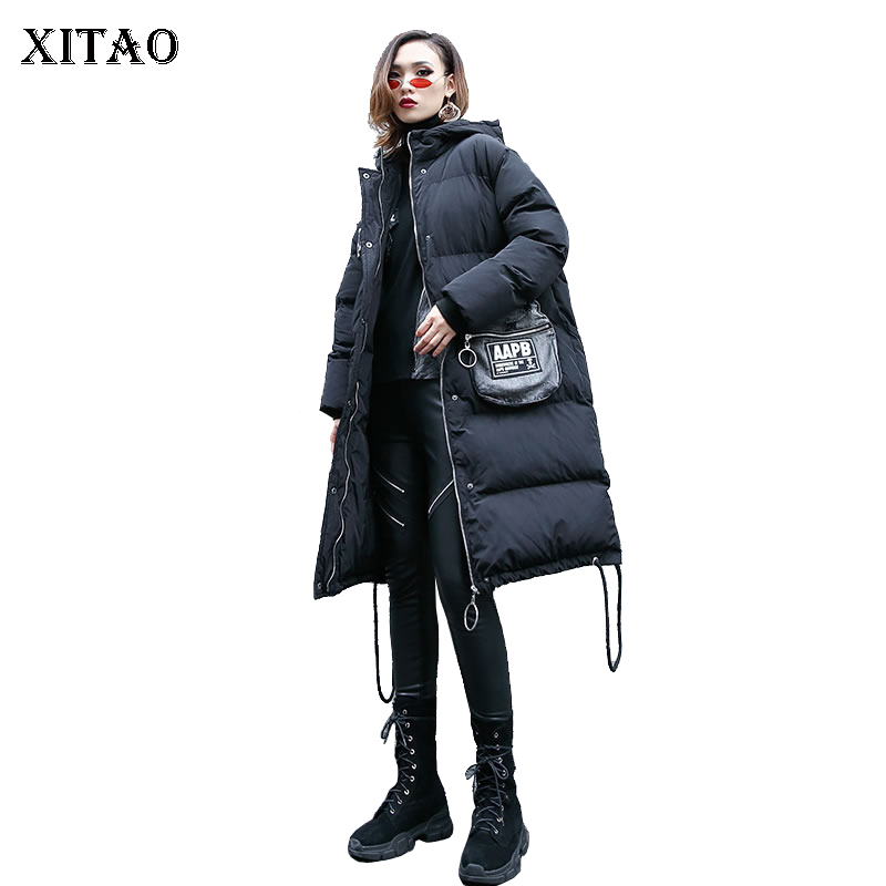 [XITAO] 2018 Winter Korea Fashion New Arrival Women Hooded Collar Full Sleeve Loose Pocket Patchwork Long Thick   Parka   LYH1392