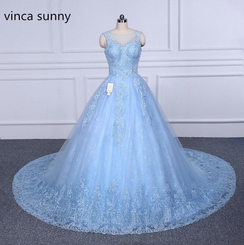 Vinca sunny 2019 Robe De Mariage Plus Size Lace Wedding Dresses Blue Ball Gown Wedding Dress Bridal Dress